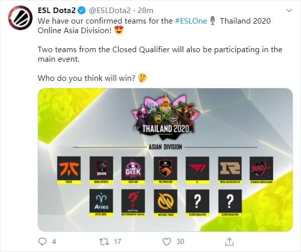 ESL One泰国站亚洲区名单出炉:SAG、RNG大战FNC,TNC